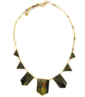 Nicole Richie House of Harlow 1960 Green Gold Triangle Necklace