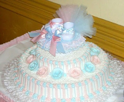 Marilyns Caribbean Cakes Pink White And Blue Baby Shower Cake