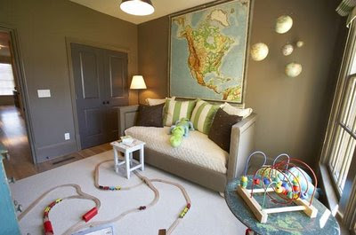 This young boys room is so cute! I love the map theme and the daybed that