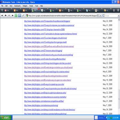 google webmasters indexes external nofollow blog