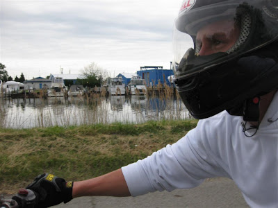 motorcycle ride, may, boat docks, shoreline, michigan