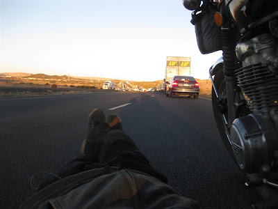 motorcycle trip, sitting on the highway, traffic jam