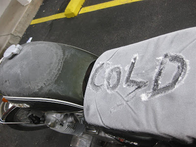 cold morning, motorcycle ride, kentucky, ice, snow