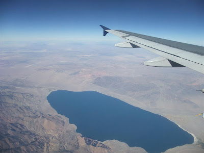 view from plane, blue lake, aerial, arizona