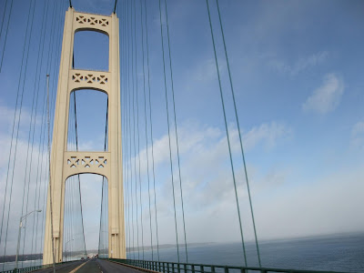 driving across the mackinac bridge, michigan, upper penninsula