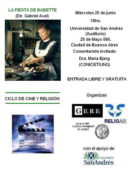 PASO EL CICLO DE CINE Y RELIGION