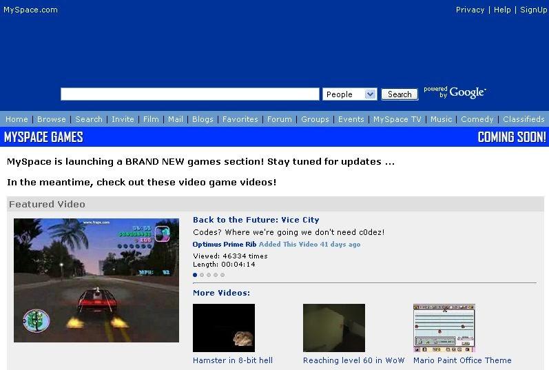 Games) on Myspace