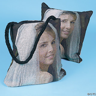 photo of a bride on a pillow and a tote bag