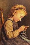 Pequeña tricotando