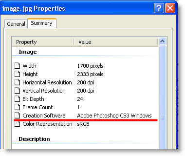 image properties with metadata creation software adobe photoshop cs3