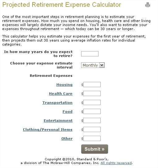 Retirement Calculator Amount Needed Retirement Calculator