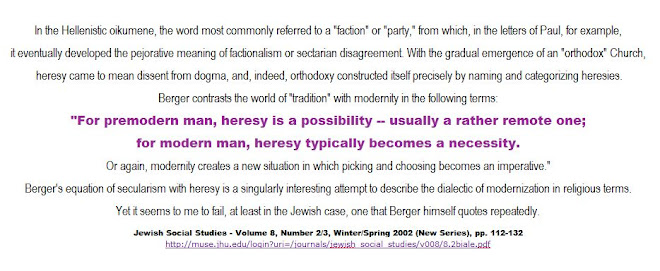 for modern man, heresy typically becomes a necessity
