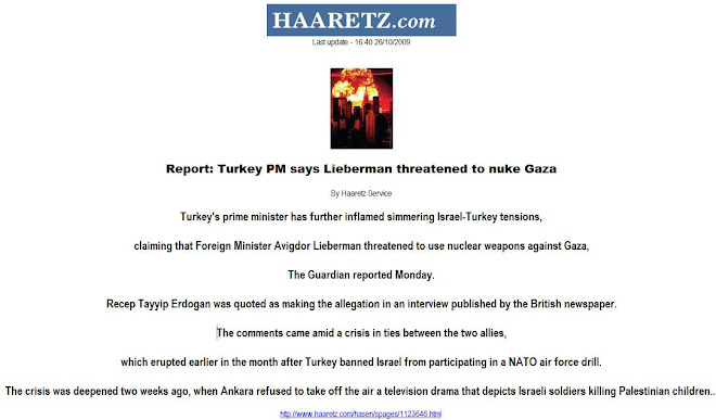 Report: Turkey PM says Lieberman threatened to nuke Gaza
