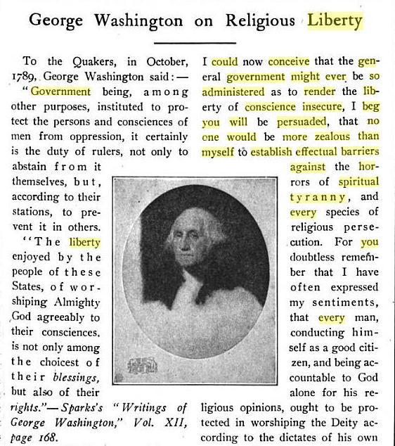 George Washington - liberty of conscience.