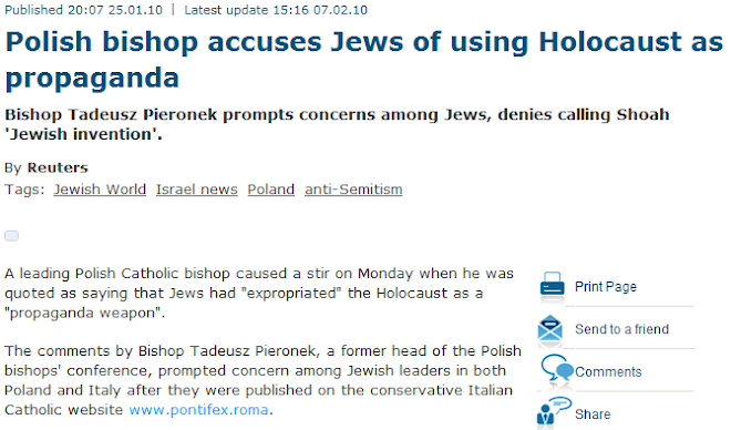 Polish bishop accuses Jews of using Holocaust as propaganda