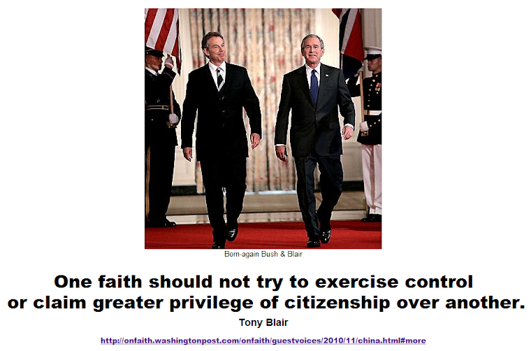 One faith should not try to exercise control or claim greater privilege of citizenship over another