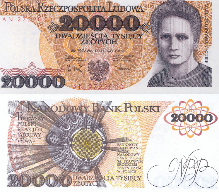 Marie Curie, 20000 old Polish Zloty