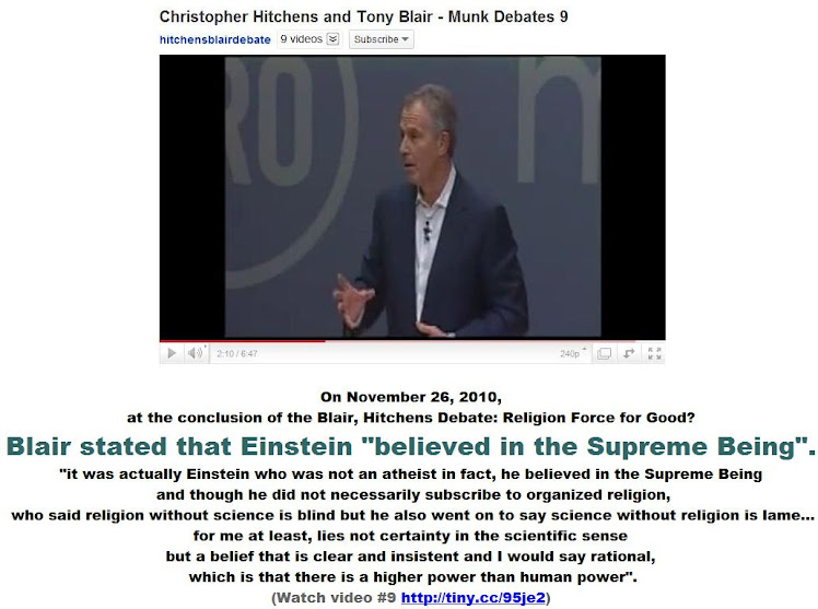 Blair stated that Einstein believed in the Supreme Being