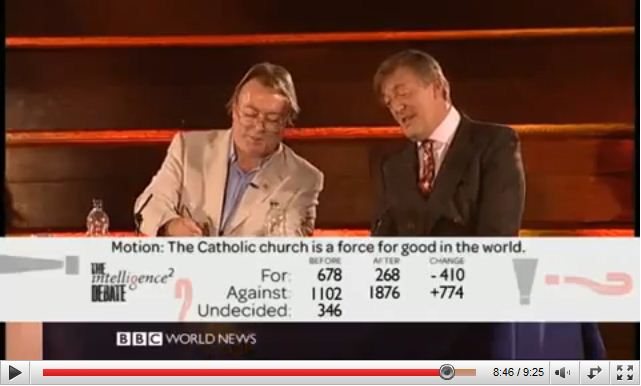 The Intelligence Squared Debate, Christopher Hitchens and Stephen Fry vs The Catholics