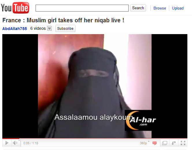 France - Muslim girl takes off her niqab live.