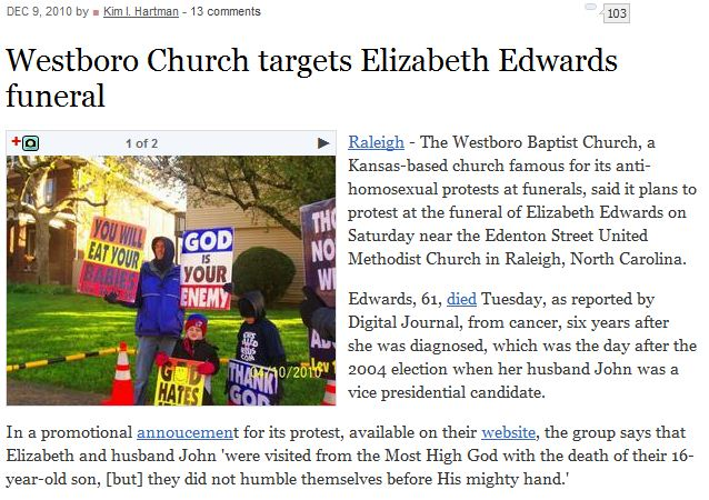 Westboro Church targets Elizabeth Edwards funeral.