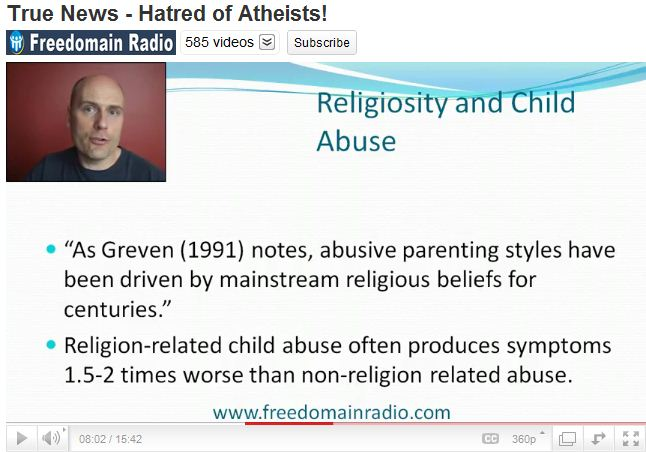 True News - Hatred of Atheists - Religiousity and child abuse