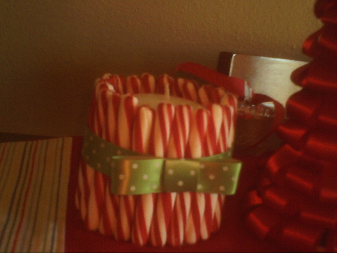 Crafting for the uncrafty candy cane candle holders for Candy cane holder candle centerpiece