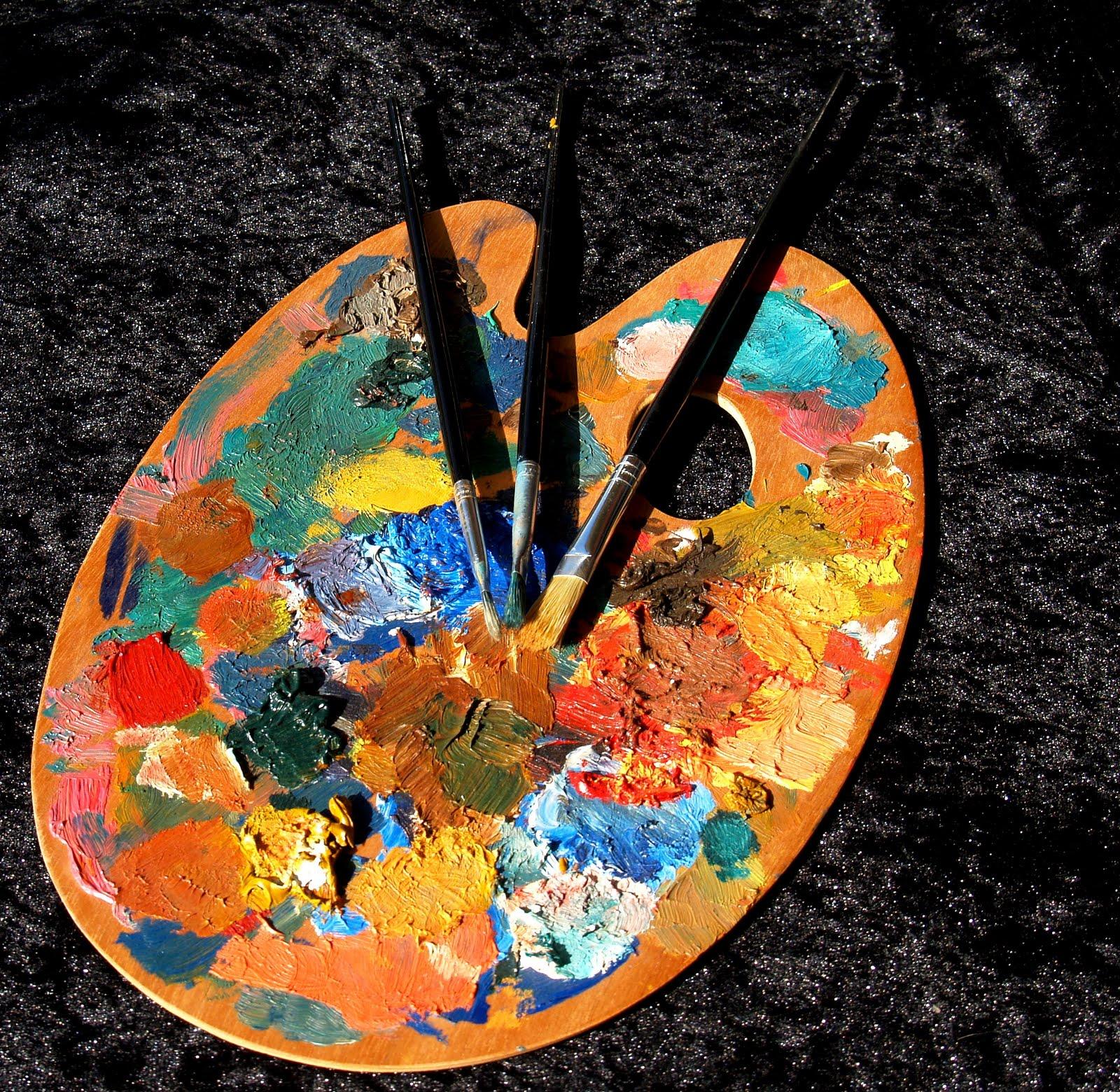 H art colores en la paleta de pintores - Paleta de pinturas ...
