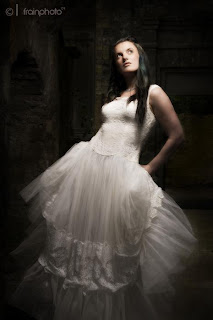 Goth in a white dress