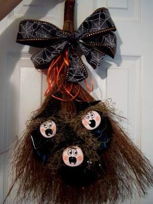 witchy poo broom recycled halloween decoration