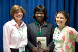 Patrica, left, and Wendy, right, with Grace Akallo, whose speech about the crisis in northern Uganda inspired them to get involved.