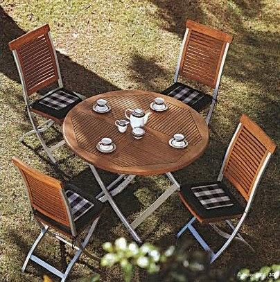 Muebles de jardin mesas y sillas madera y rat n sint tico - Sillas madera jardin ...