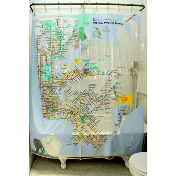 Cortinas de ba o con estampas de mapas y postales so adas - Cortinas bano originales ...