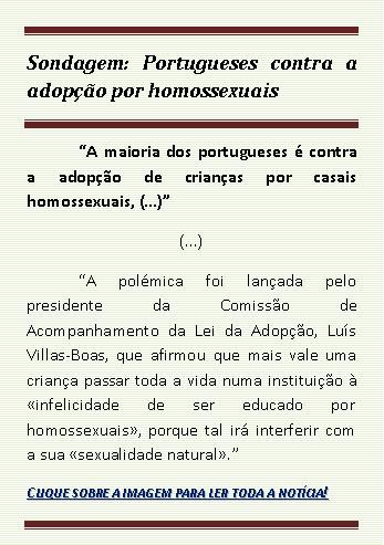 Sondagem: Portugueses contra adopção por homossexuais