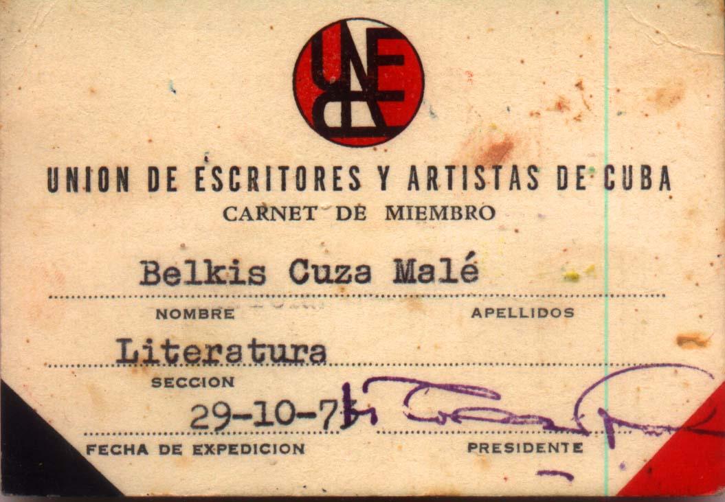 [BELkis+CARNET+DE+MIEMBRO+UNEAC+1976]