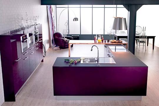 Ay saat mor mutfak ve mutfak aksesuarlar for Interieur aubergine