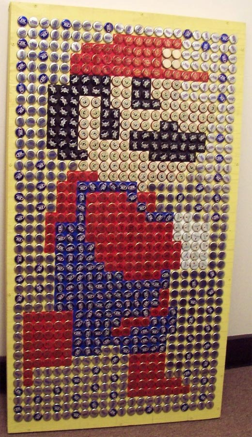 13 works of bottle cap art now that 39 s nifty for Beer bottle cap projects