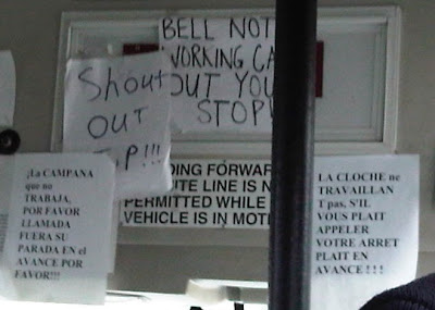 'bell not working call out your stop' signs in English, French, and Spanish