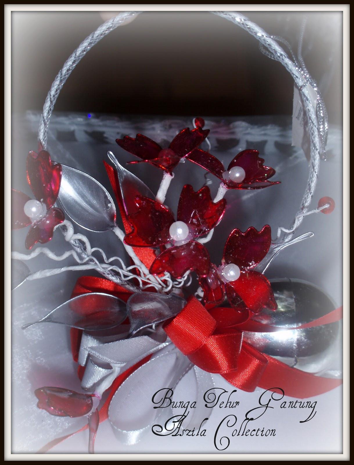 Gerbang Perkahwinan Aszila Bunga Telur Gantung Merah Putih