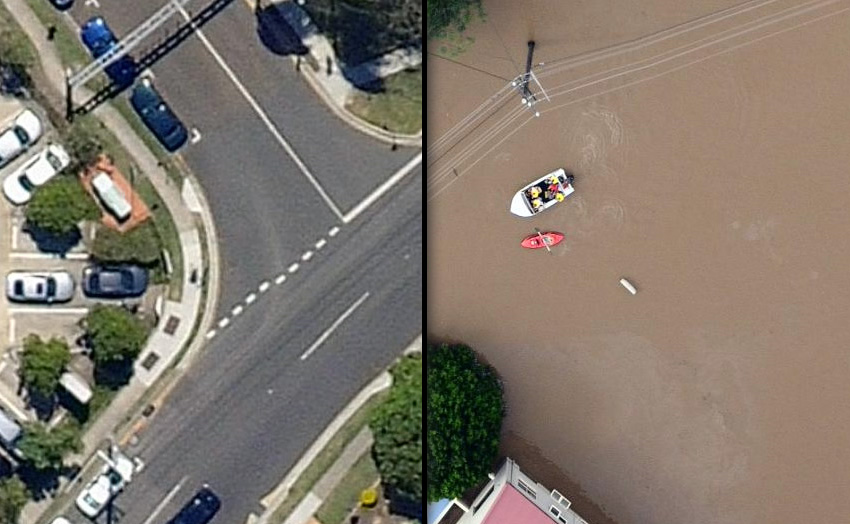 The aerial photos of the Brisbane floods were taken on January 13 and