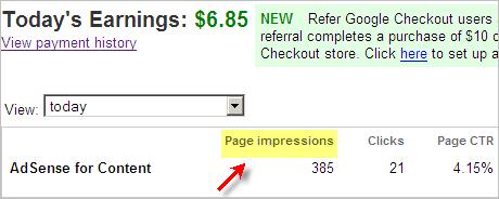 Adsense Page Impressions
