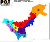 Popayán dividido en comunas