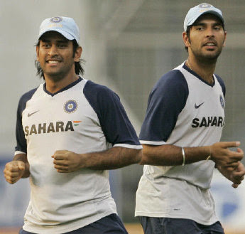 Dhoni and Yuvraj in nets