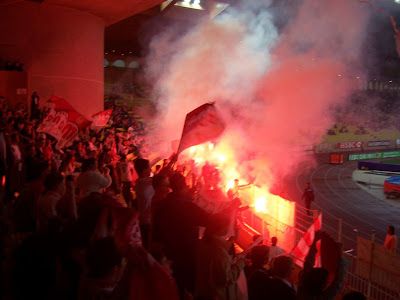 Football : la joie des supporters après le but - Fumigènes