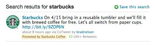 Promoted Tweet från Starbucks