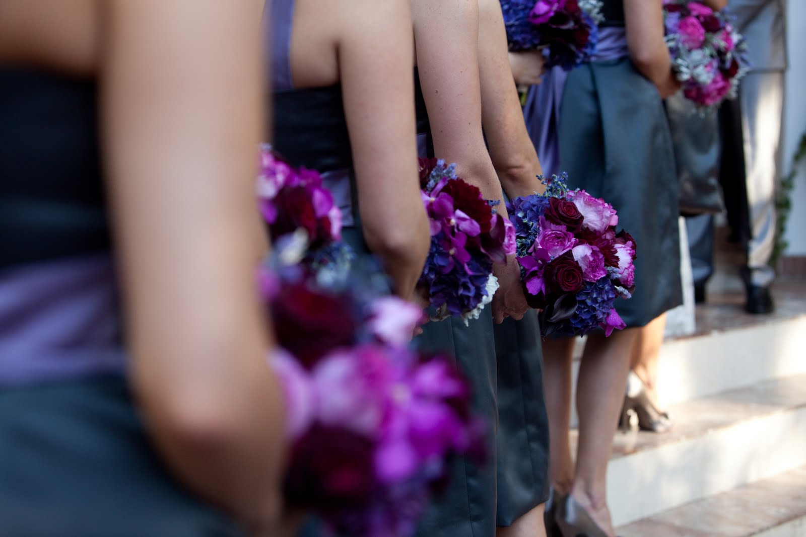 Amorology first comes love jill glennframe and fortune my bridesmaids dresses were gun metal grey to balance out the bright colors of the flowers ombrellifo Images