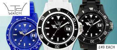 LTD watch topman black white blue plastic watch