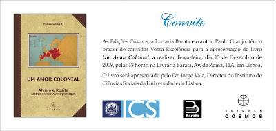 Apresentação do livro: Um Amor Colonial de Paulo Granjo na Livraria Barata amanhã dia 15 de Dezembro pelas 18h.