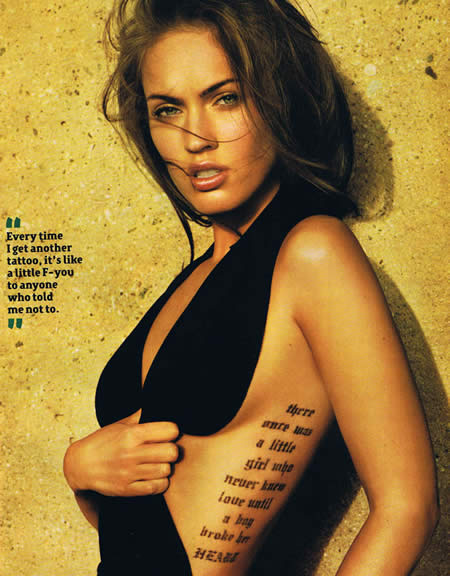 megan fox rib tattoo. That is why, rib