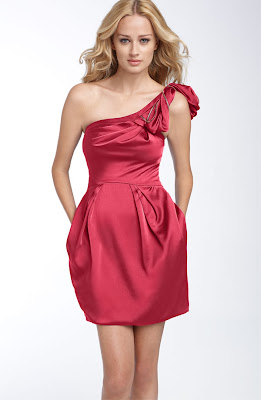 One Shoulder Satin Cocktail Dress
